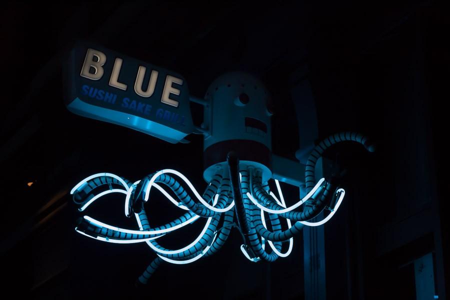 Blue Sushi Neon Octopus