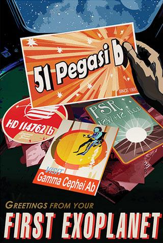 51 Pegasi b - NASA Space Age Travel Poster
