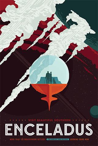 Enceladus - NASA Space Age Travel Poster