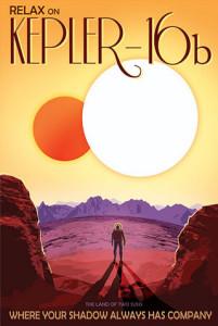 Kepler-16b - NASA Space Age Travel Poster