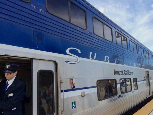 The Pacific Surfliner Train At The Santa Barbara Amtrak Station