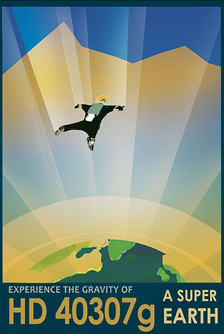 Super Earth - NASA Space Age Travel Poster