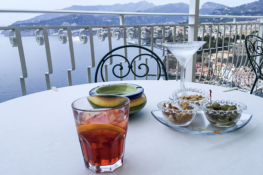 first cocktail and aperitivo hotel belair sorrento