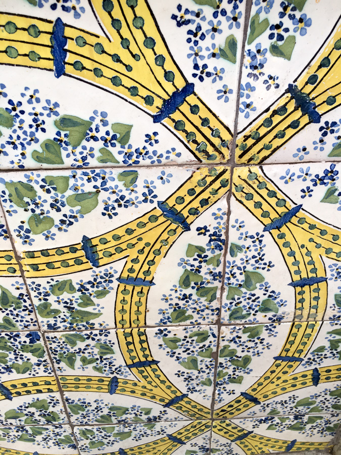 Yellow green and blue tiles Sorrento Italy