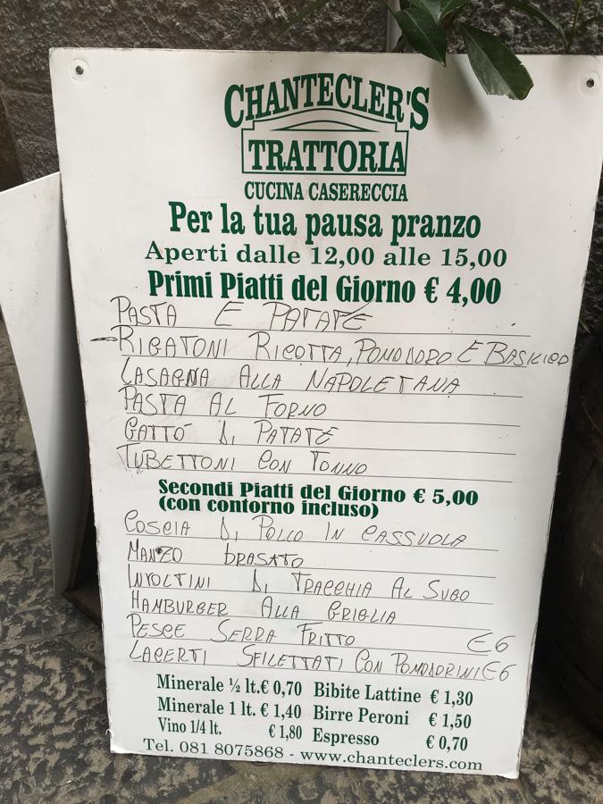 chanteclers trattoria menu sorrento italy