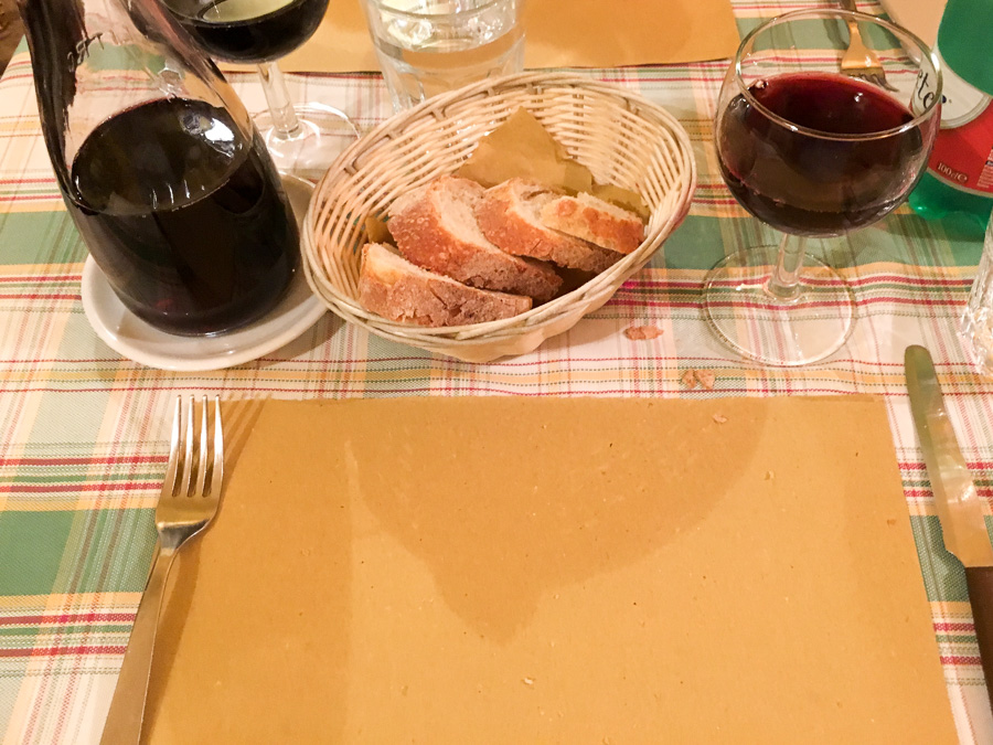 quarto of house red wine and bread chanteclers trattoria sorrento italy