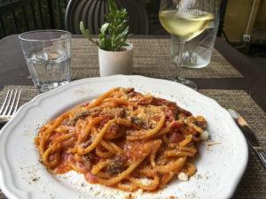 Pasta Amatriciana at Oratorio Bistrot, Rome, Italy