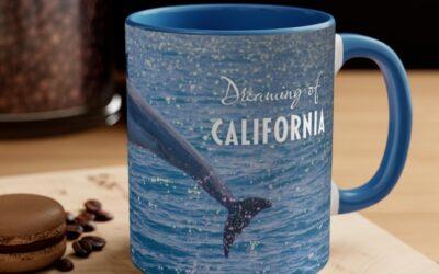 Dreaming of California Dolphin Accent Coffee Mug, 11oz